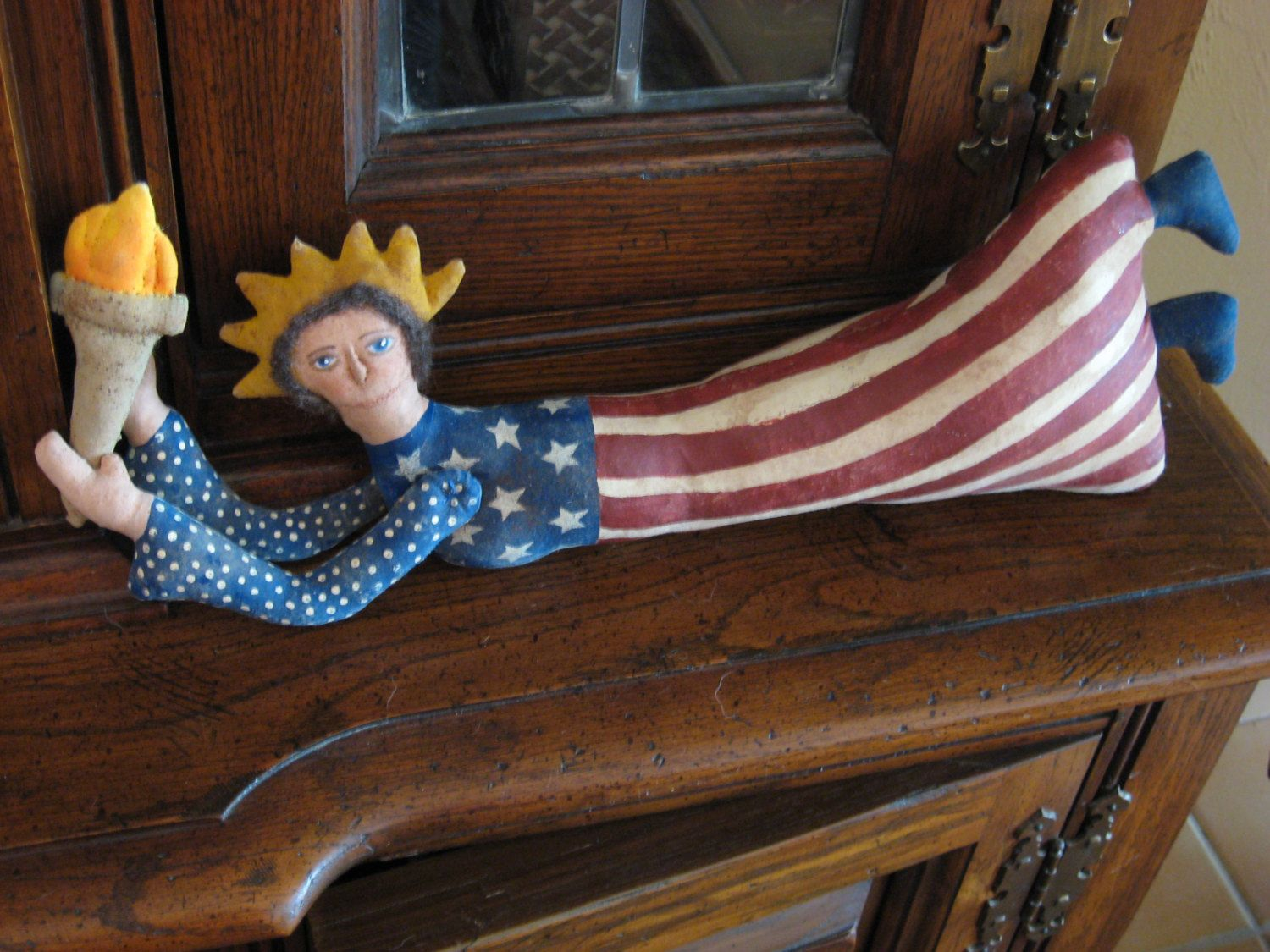 Primitive Folk Art Flying Lady Liberty Doll, Greeter, Wall Hanger, Sitter, Tuck, Americana Collectible by DaunRochelle on Etsy
