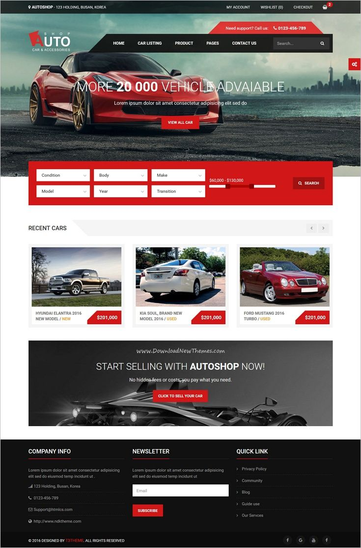 Autoshop - Car & Accessories HTML5 Template | Shop car, Template and ...