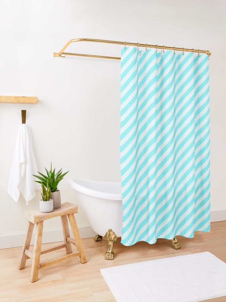 'Aqua Blue and White Striped Pattern' Shower Curtain by BuzzEdition