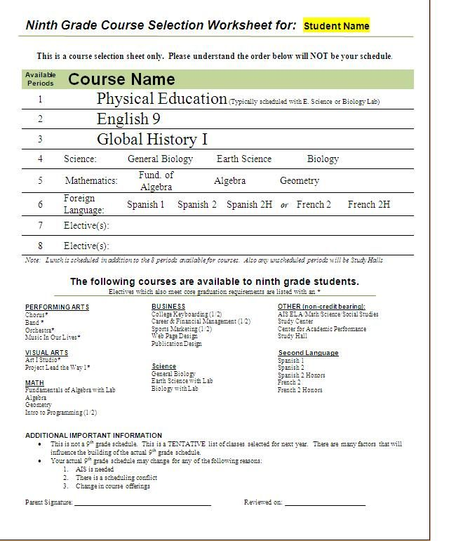 9th Grade Course Selection Worksheet from http ...