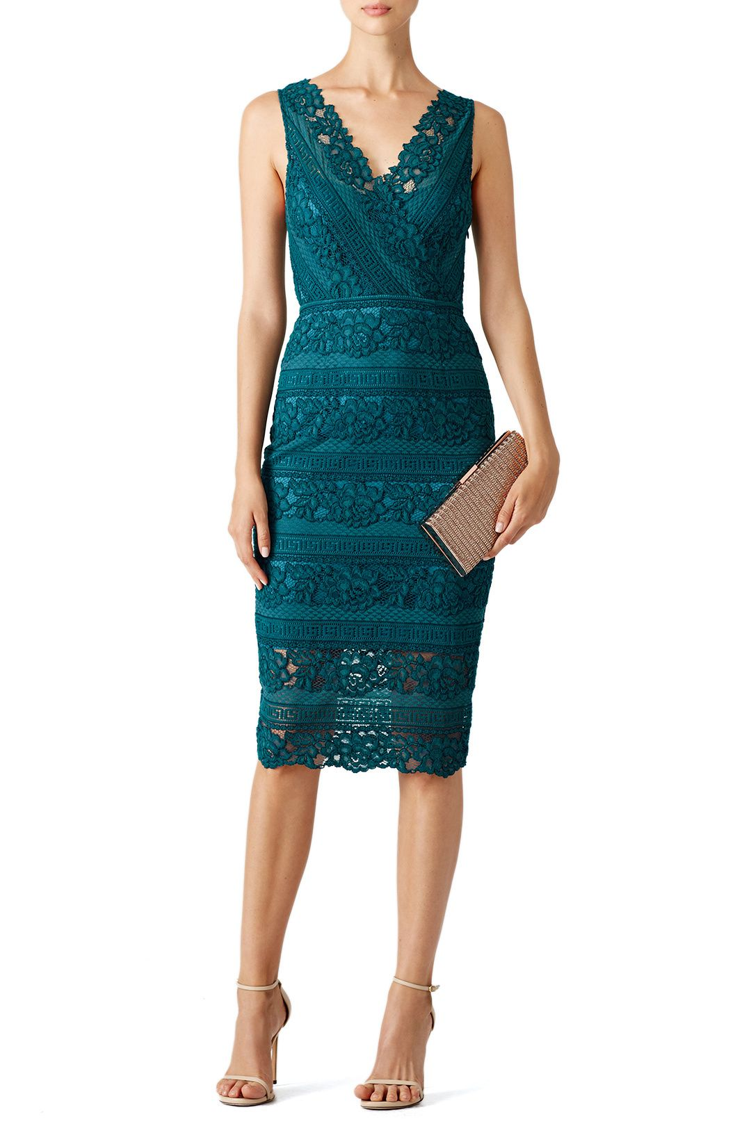 Lace dress rose  Rent Teal Rose Bush Lace Sheath by Saylor for    only at Rent
