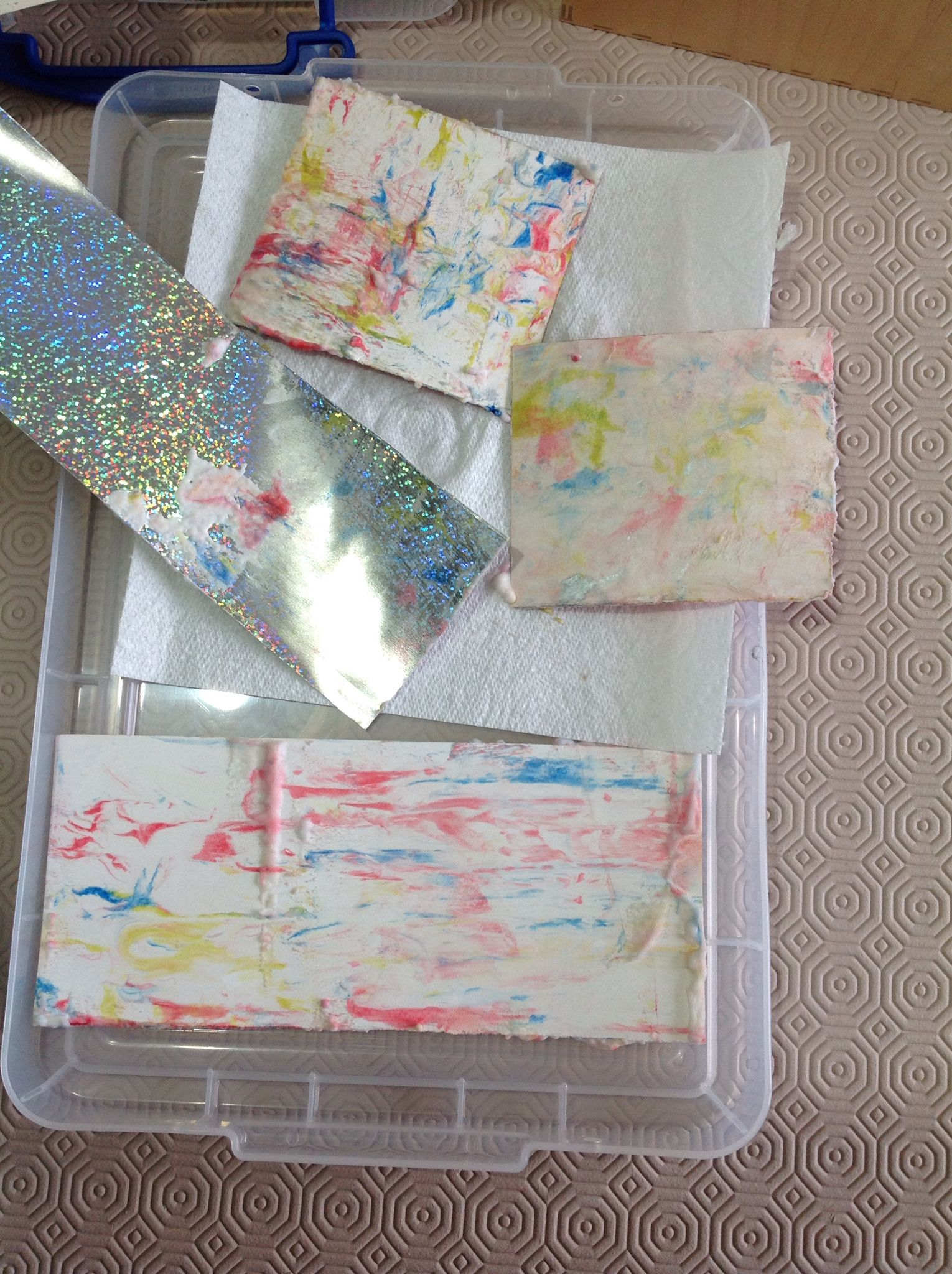 Lyn's work.  Second set of marbling with shaving foam.