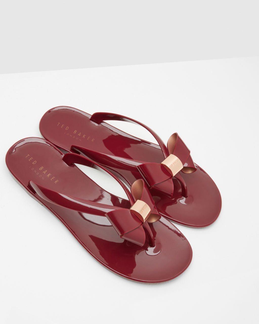 de0697658 Bow flip flops - Dark Red