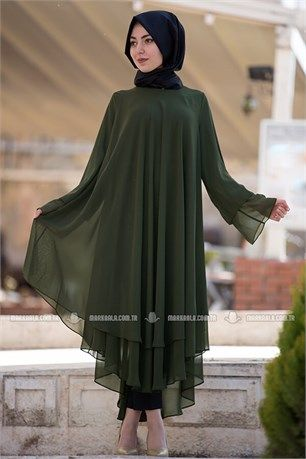 Marka Ala Tesettur Tunik Cift Katli Sifon 3080 Haki Giyim Tunik Elbise