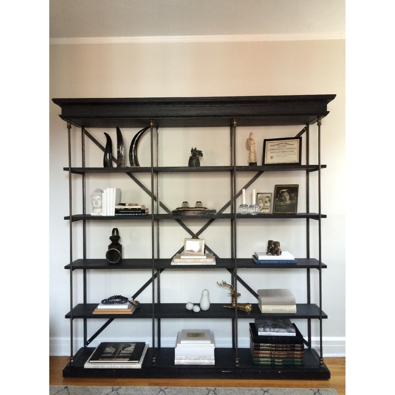 restoration hardware black oak drifted parisian cornice triple shelving unit0
