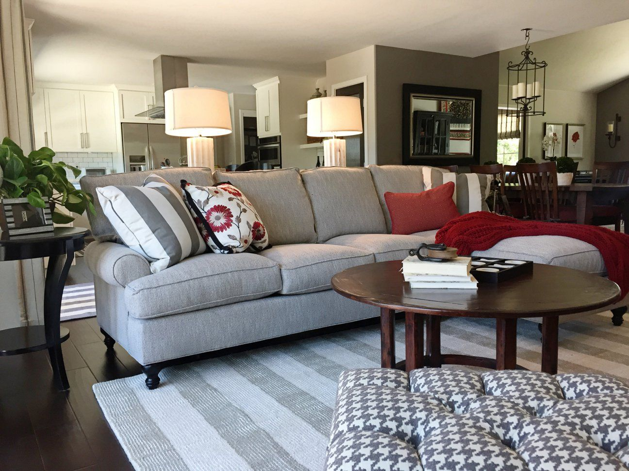 A Fresh Take On Red Family Room Family Room Sectional Room
