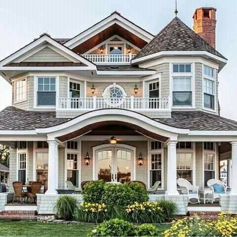 I Like The 1st 2nd And 3rd Floor Porches On This House Dream House Exterior Dream Home Design House Plans