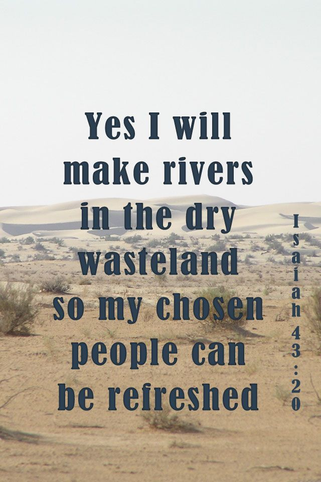 Yes I Will Make Rivers In The Dry Wasteland So My Chosen People