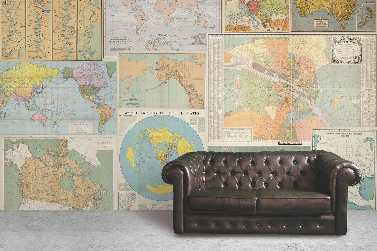 Neutral shades world map wallpaper mural map collage vintage maps light vintage map collage wallpaper gumiabroncs Images