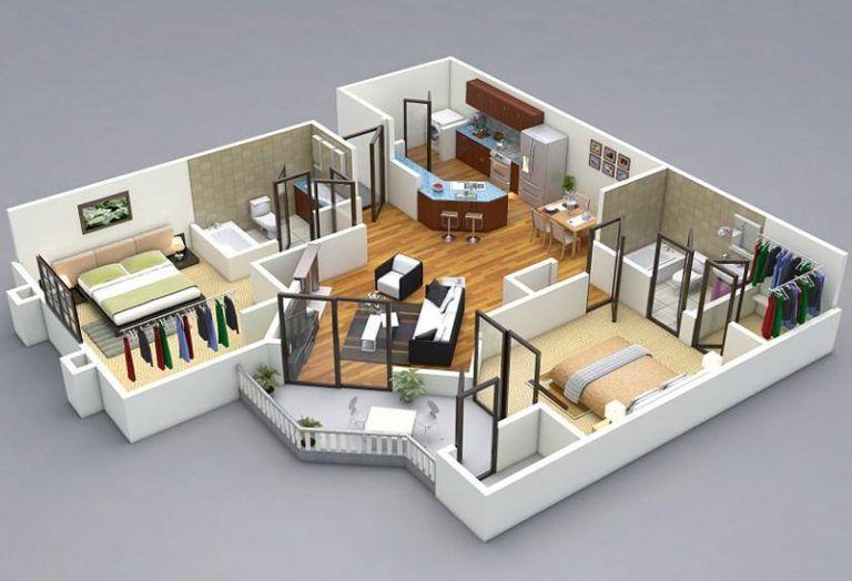 25 More 2 Bedroom 3d Floor Plans Floor Plan Design 2 Bedroom House Plans House Plans