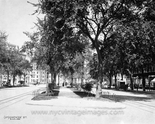 Broadway and West 106th Street, 1900. In this photo, taken on September 25, 1900, we look north along the Broadway center mall from West 106th Street. To the left is a triangular green space, bounded by 106th Street, Broadway, and West End Avenue, which would eventually be named Strauss Park, after Isidor and Ida Strauss, who perished in the sinking of the Titanic on April 15, 1912.