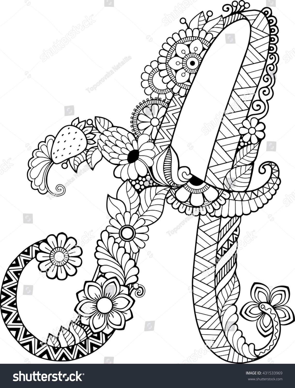 - Coloring Book For Adults. Floral Doodle Letter. Hand Drawn Flowers