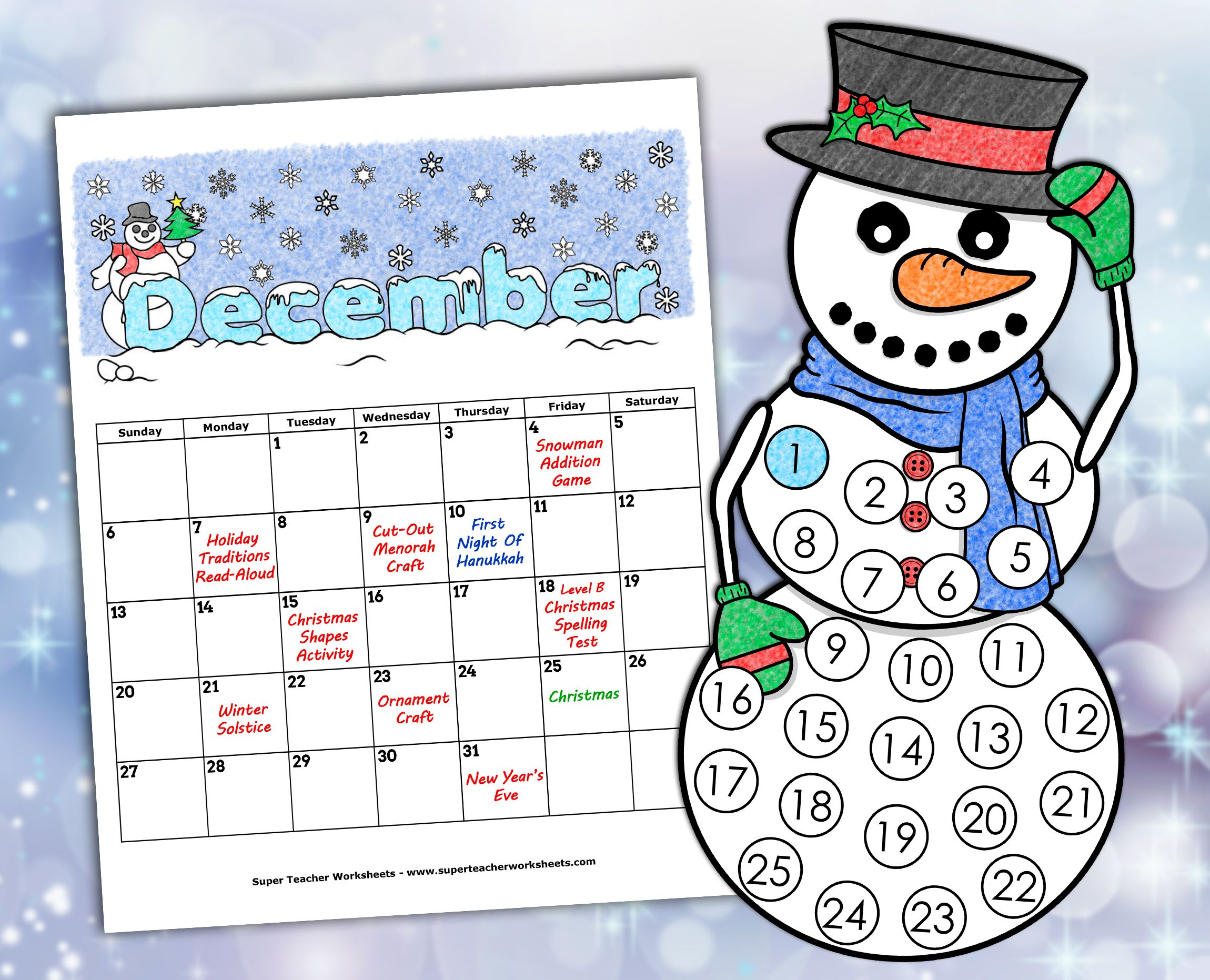 Holiday Winter Worksheets Winter Themed Math Super Teacher Worksheets Holiday