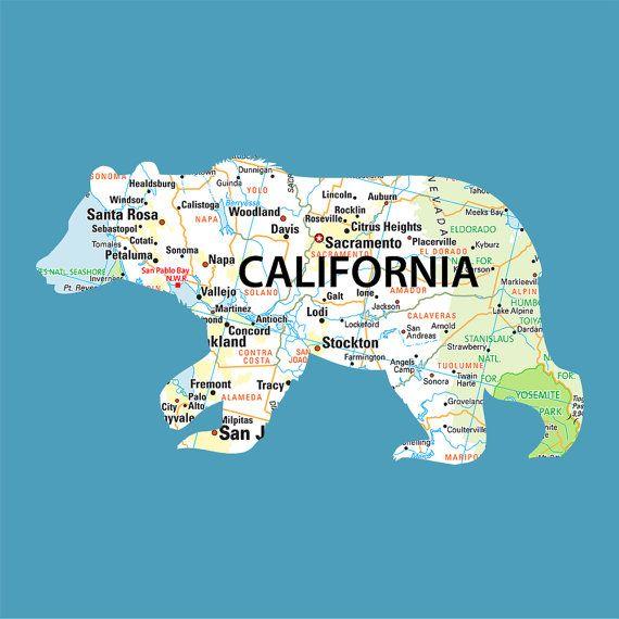 Cool California Map Print Pintowin Napoleonperdis Npset