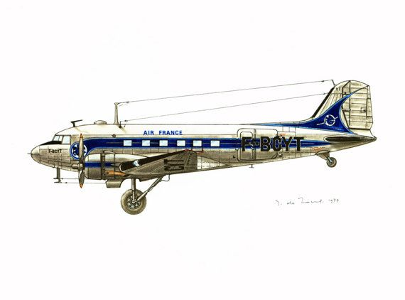 Douglas Dc3. Aeropostale. Aviation Wall Art Print. Vintage Airplane Poster.  Antique Aircraft