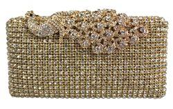 Crystal Stud Peacock Motif Hard Box Evening Clutch Bag