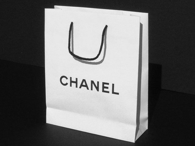 Chanel Paper bag - white with Black foil stamped logo   Luxury ...
