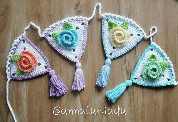 Ready to ship, Crochet rose garland, crochet rose, crochet, bunting, flower bunting,  crochet flowers, flower coasters