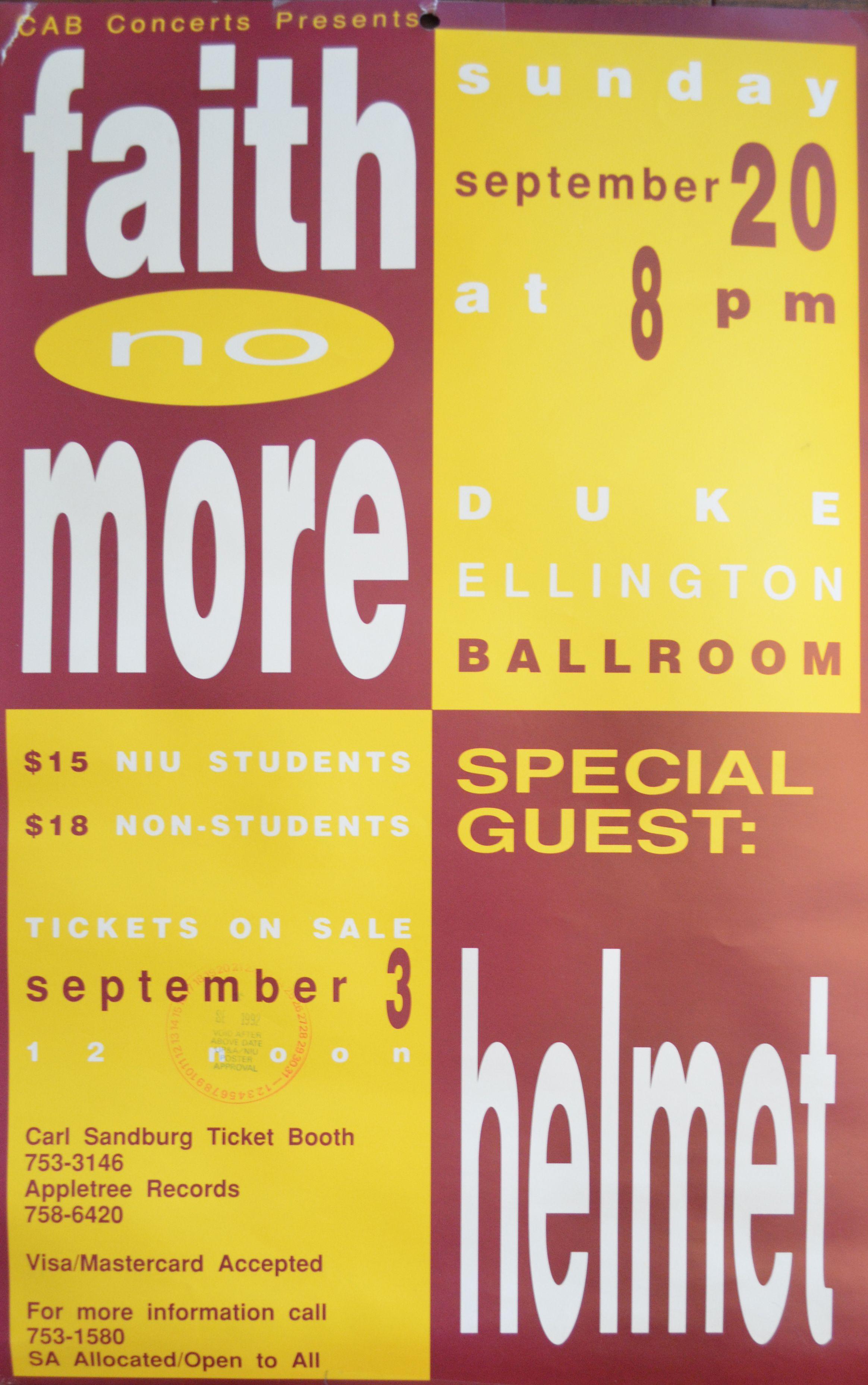 Faith No More And Helmet At Niu S Duke Ellington Ballroom Duke