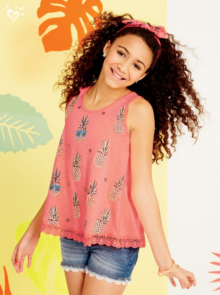 180d5a64086 Complete your summer wardrobe with a style-making tank in a unique print  and a lining of lace!