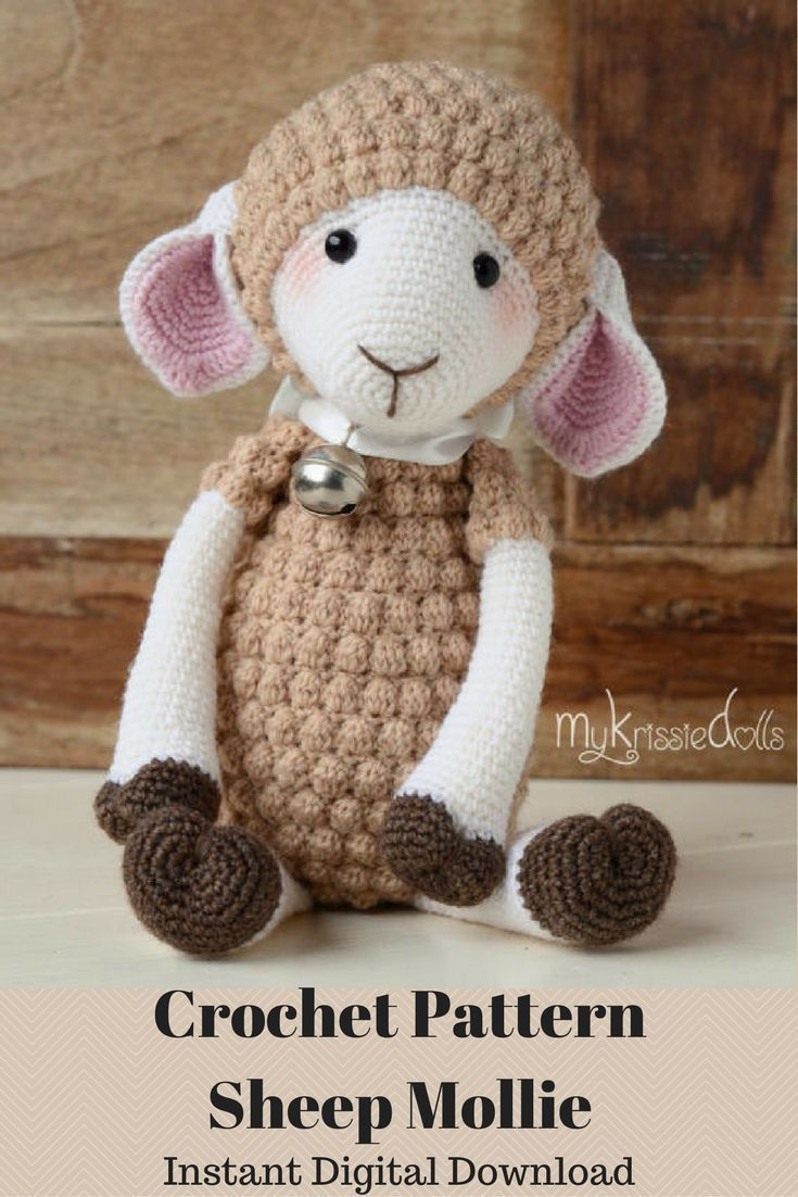 Sheep Mollie is an adorable crocheted sheep made with a PDF pattern ...
