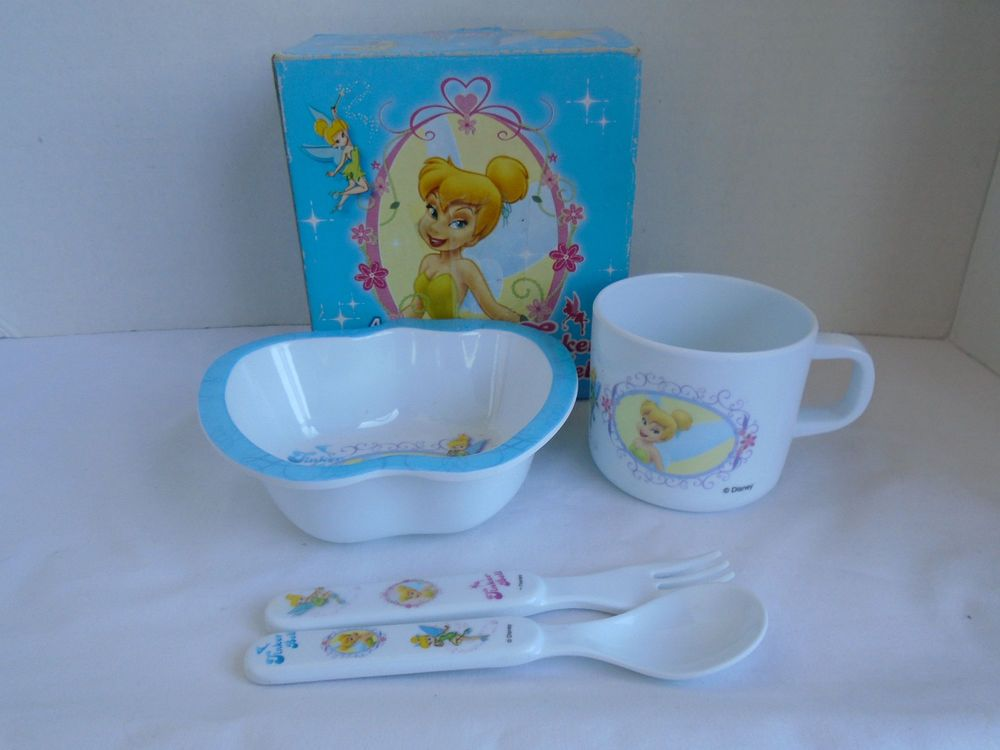 Disney Tinkerbell 4 Piece Dish Set Cup Plate Fork Spoon   Collectibles Disneyana Contemporary & Disney Tinkerbell 4 Piece Dish Set Cup Plate Fork Spoon   Dish sets ...