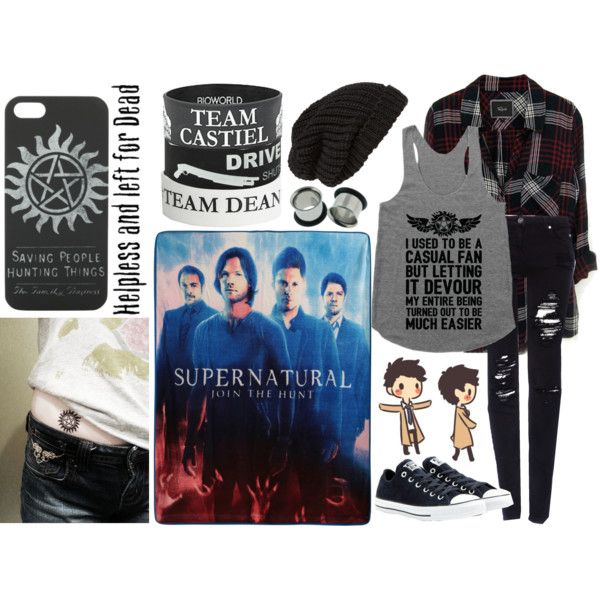 im cold and stck at home and watching supernatural by savie-that-punk-rock-kid on Polyvore featuring moda, Rails, Pull&Bear, Converse and Tarnish
