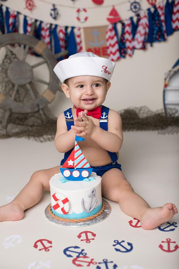 Cake Smash Outfit Personalised Sailor Boys 1st Birthday Outfit