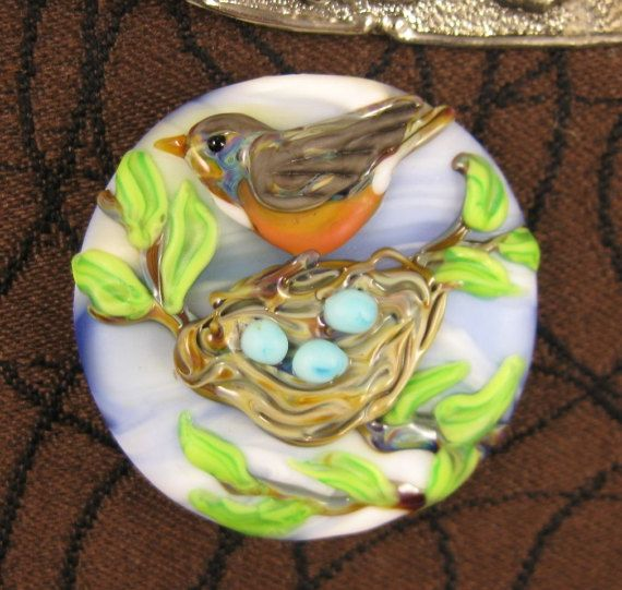 Lampwork Robin's Nest Focal Bead by Kerribeads by kerribeads