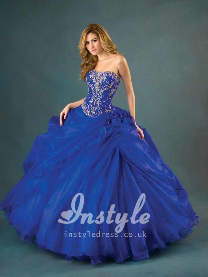 beautiful blue strapless full ball gown quinceanera dress with ...