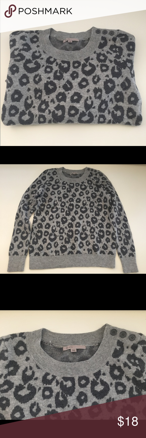 173e361812f2 Gap Gray Leopard Print Sweater Super warm and cozy! Has only been worn  once. GAP Sweaters Crew & Scoop Necks