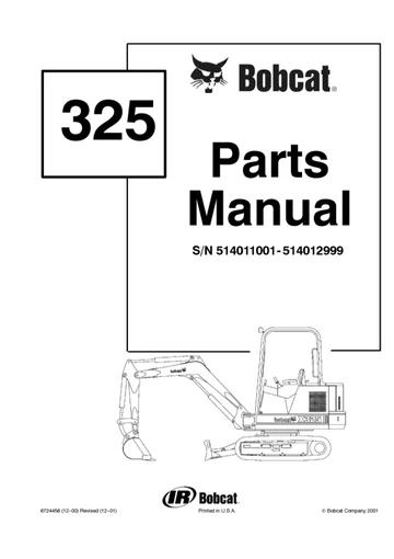 Bobcat X325 Hydraulic Excavator (S/N 514011001