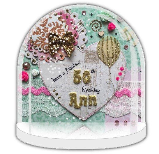 Personalised Snow Globe 50th Birthday Gift Ballons Friend Gold Christening UK Shop