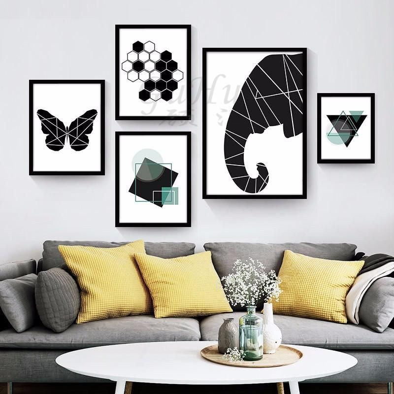 Nordic Modern Black And White Abstract Geometric Decorative Painting Bedroom Restaurant Decor Modular Pictures Minimalist Wall Art Modern Geometric Art Creative Wall Painting