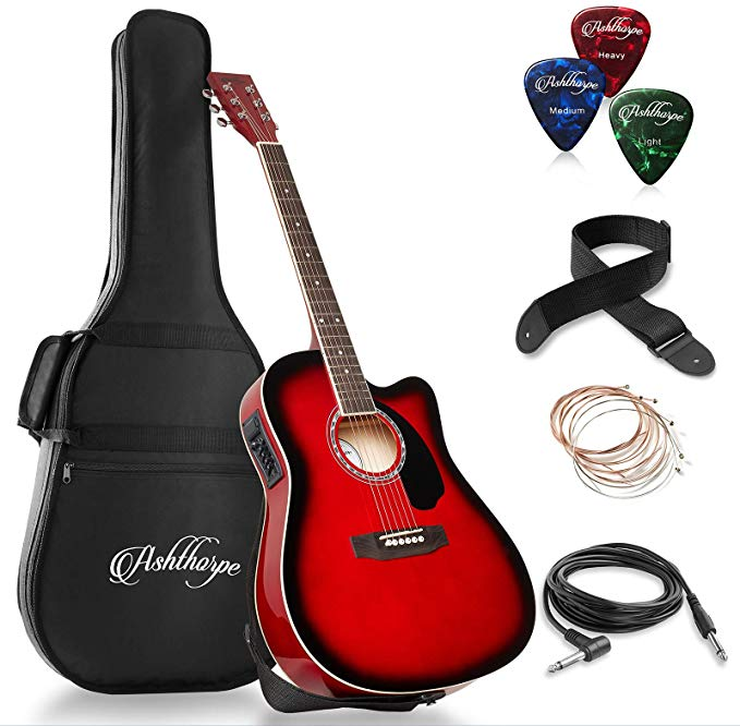 Ashthorpe Full Size Cutaway Thinline Acoustic Electric Guitar Package Premium Tonewoods R Acoustic Electric Guitar Acoustic Electric Cheap Acoustic Guitars
