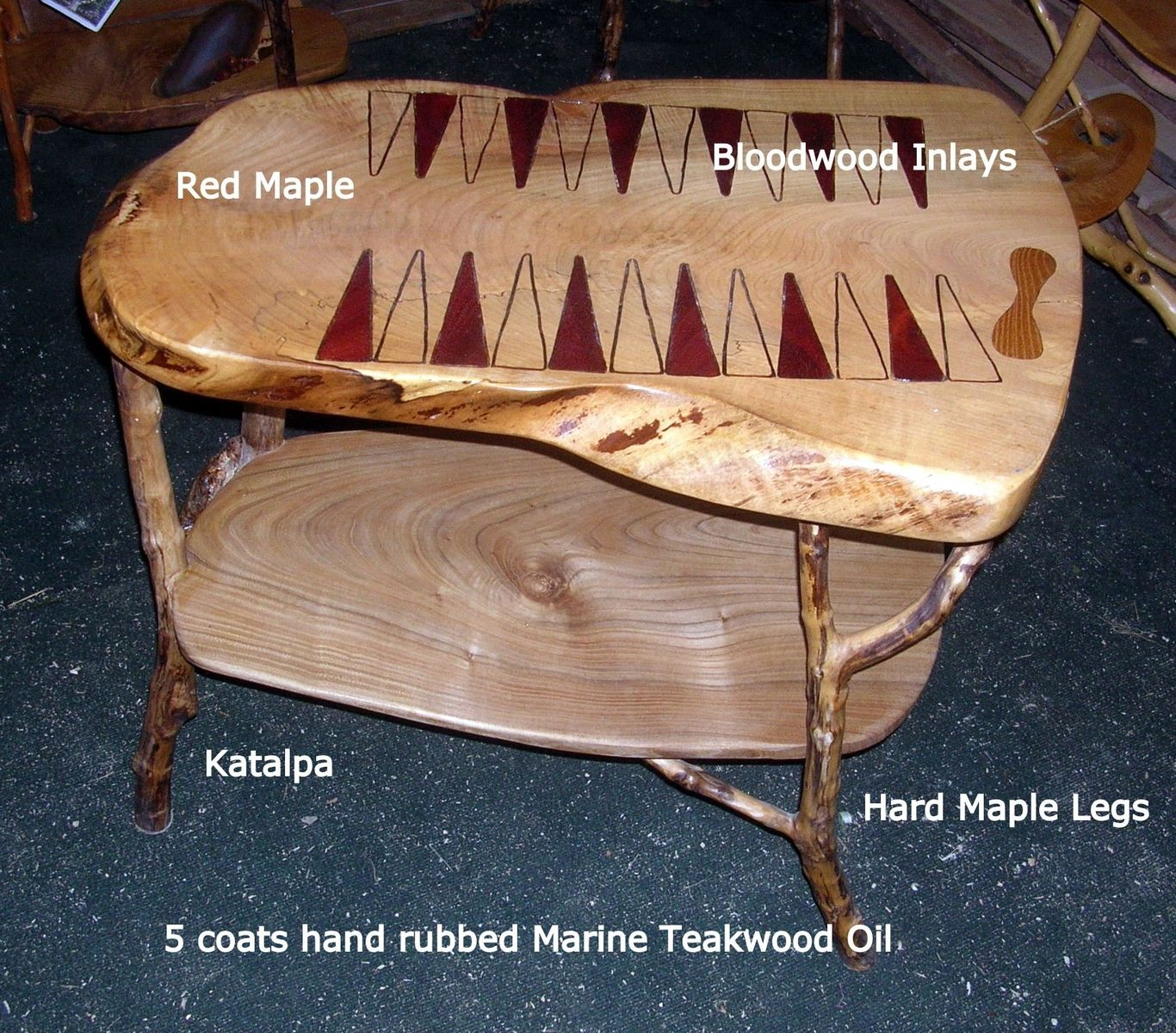Red Maple Backgammon Table