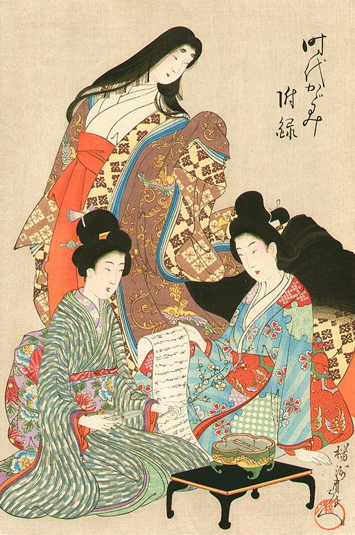 Modern Youshuu Chikanobu 1838 1912 楊洲å'¨å ¶ Mirrors of the Era æ™'ä £ã‹ãŒã¿ã€1897 Women dressed in kimono one of whom is wearing junihitoe Awesome - Luxury japanese painting Unique