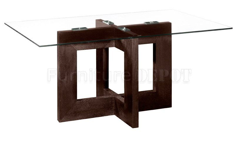 Delightful Rectangular Contemporary Glass Dinning Table | Rectangular Glass Top Modern Dining  Table With Wooden Base Part 9