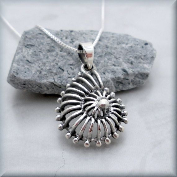 Sterling Silver Antiqued Sea Shell Pendant Fine Jewelry Gift For Her For Women