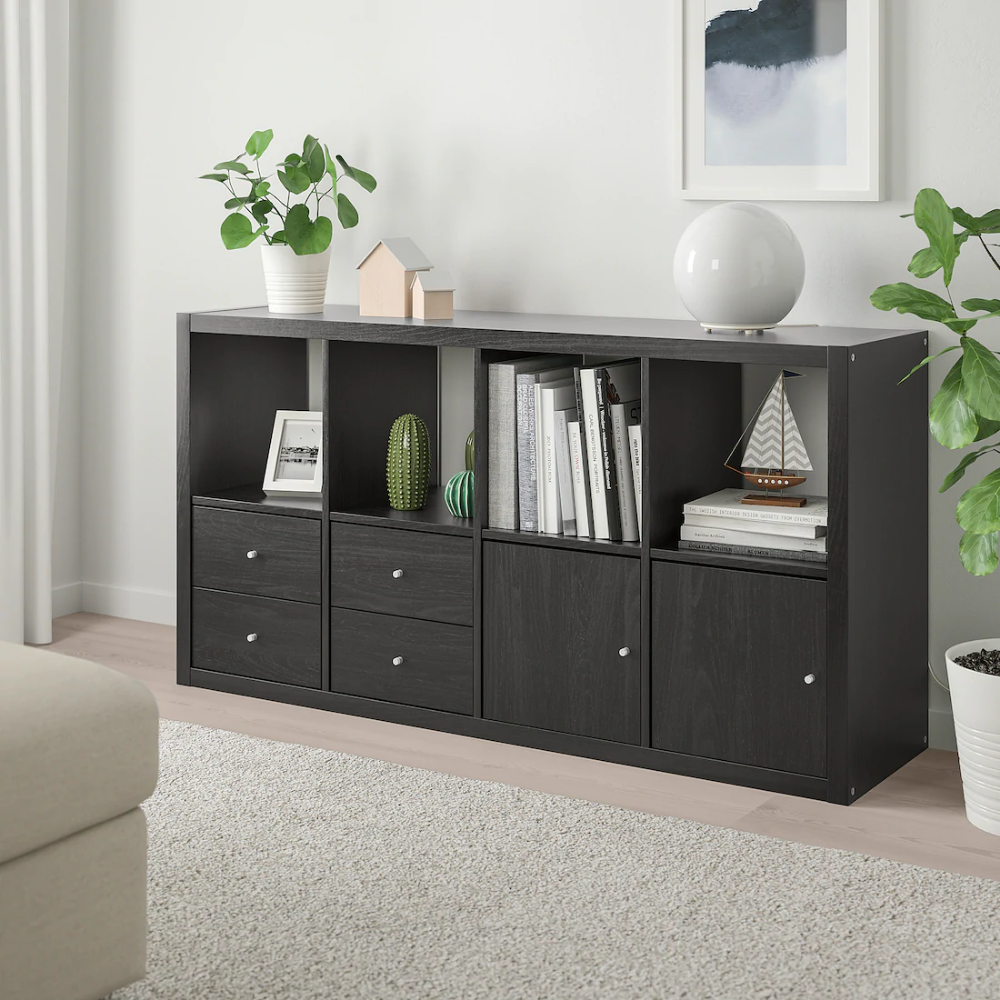 Kallax Shelf Unit With 4 Inserts Black Brown 30 3 8x57 7