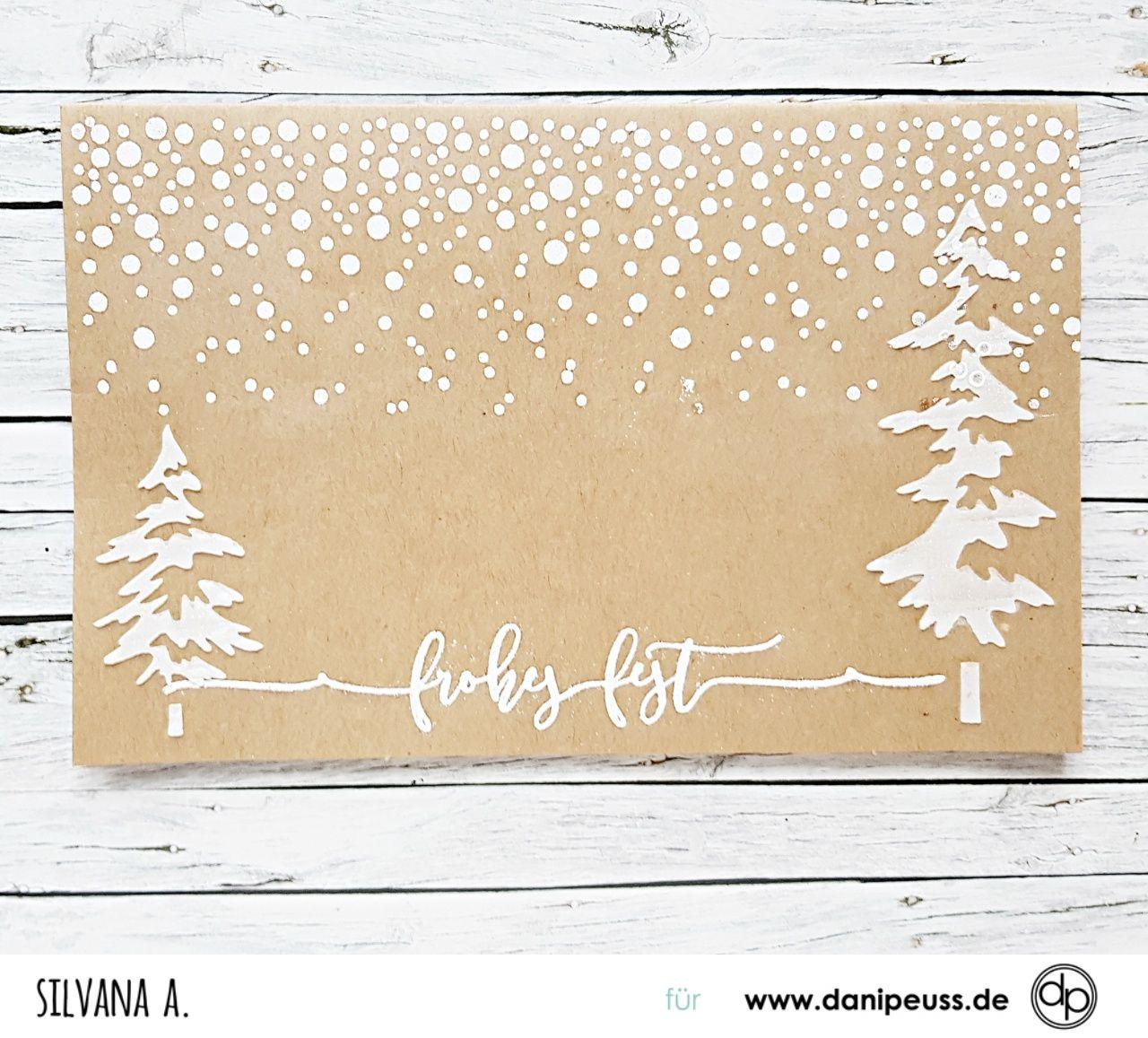 schöne handgefertigte Weihnachtskarte mit den Klartext Stempelsets ...