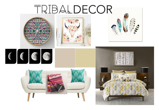 """Tribal Decor"" by vintagesiren ❤ liked on Polyvore featuring interior, interiors, interior design, home, home decor, interior decorating, Ink & Ivy, Cost Plus World Market and tribaldecor"