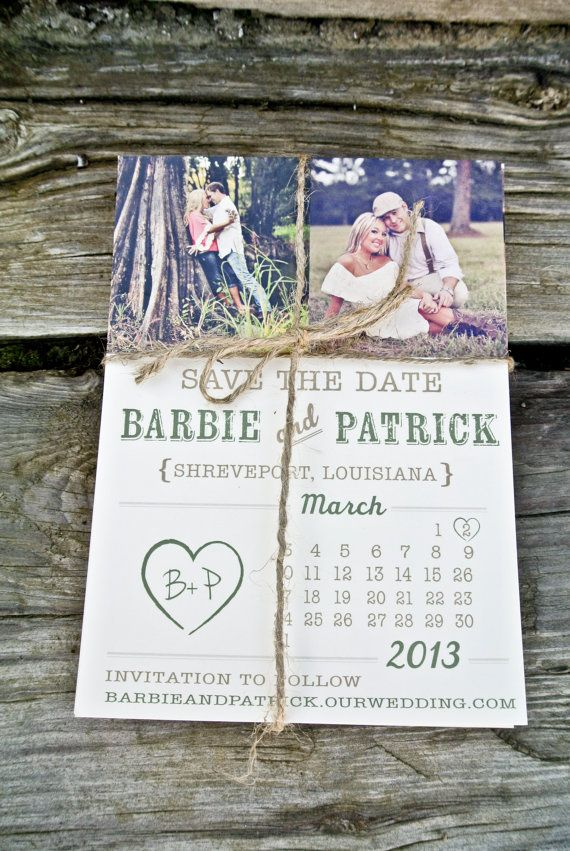 Photo Save the Date Rustic Heart Calendar by WideEyesDesign, $2.00
