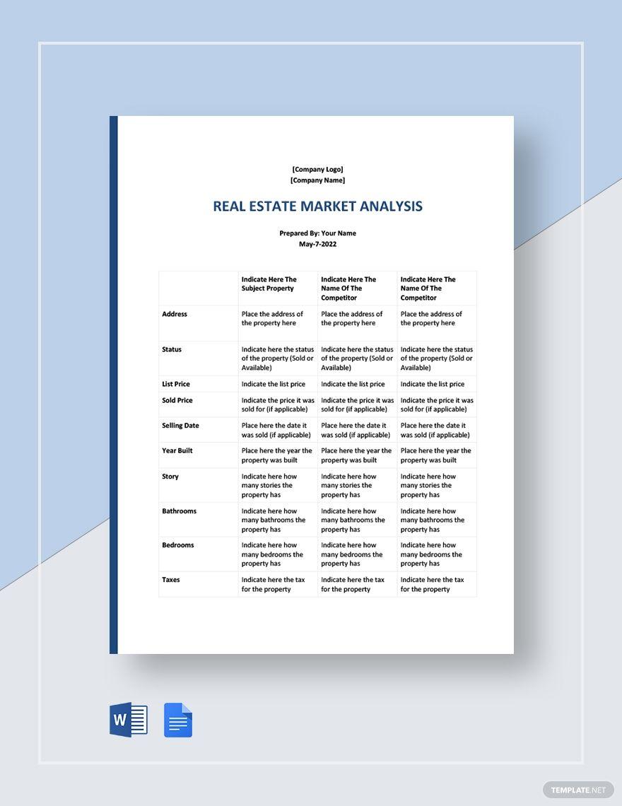 Sample Real Estate Market Analysis Template Free Pdf Word Doc Google Docs Word Doc Templates Real Estate Marketing