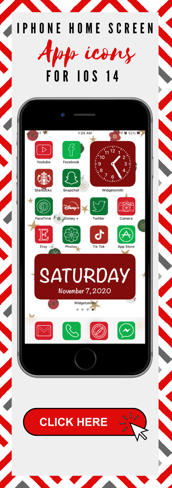 Christmas app icons ios 14 to customize iPhone home screen