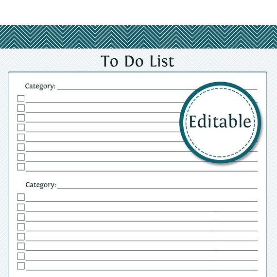 Editable to Do List Template Printable Carnival 2018 Pinterest