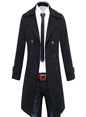 Benibos Men's Trench Coat Winter Long Jacket