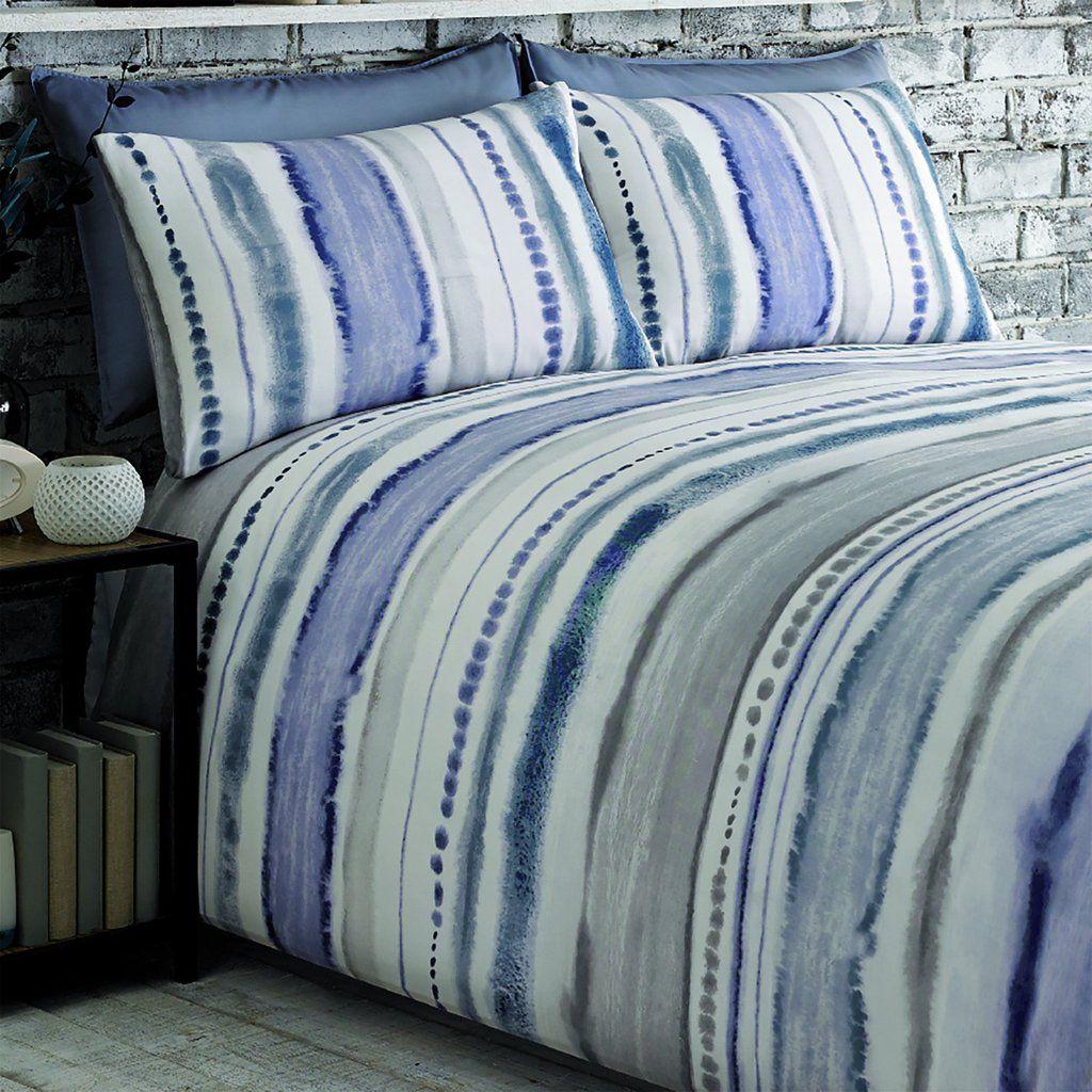 Watercolour Effect Duvet Cover Set In Blue Pasx Uk