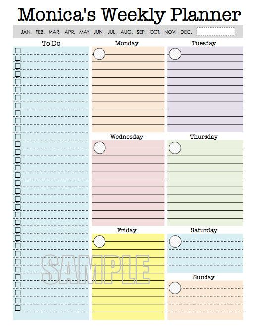 Weekly Planner Page - printable, weekly, organizer, week at a ...