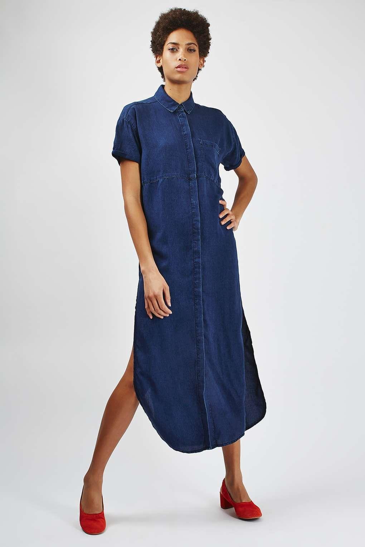 MOTO Navy Maxi Shirt Dress